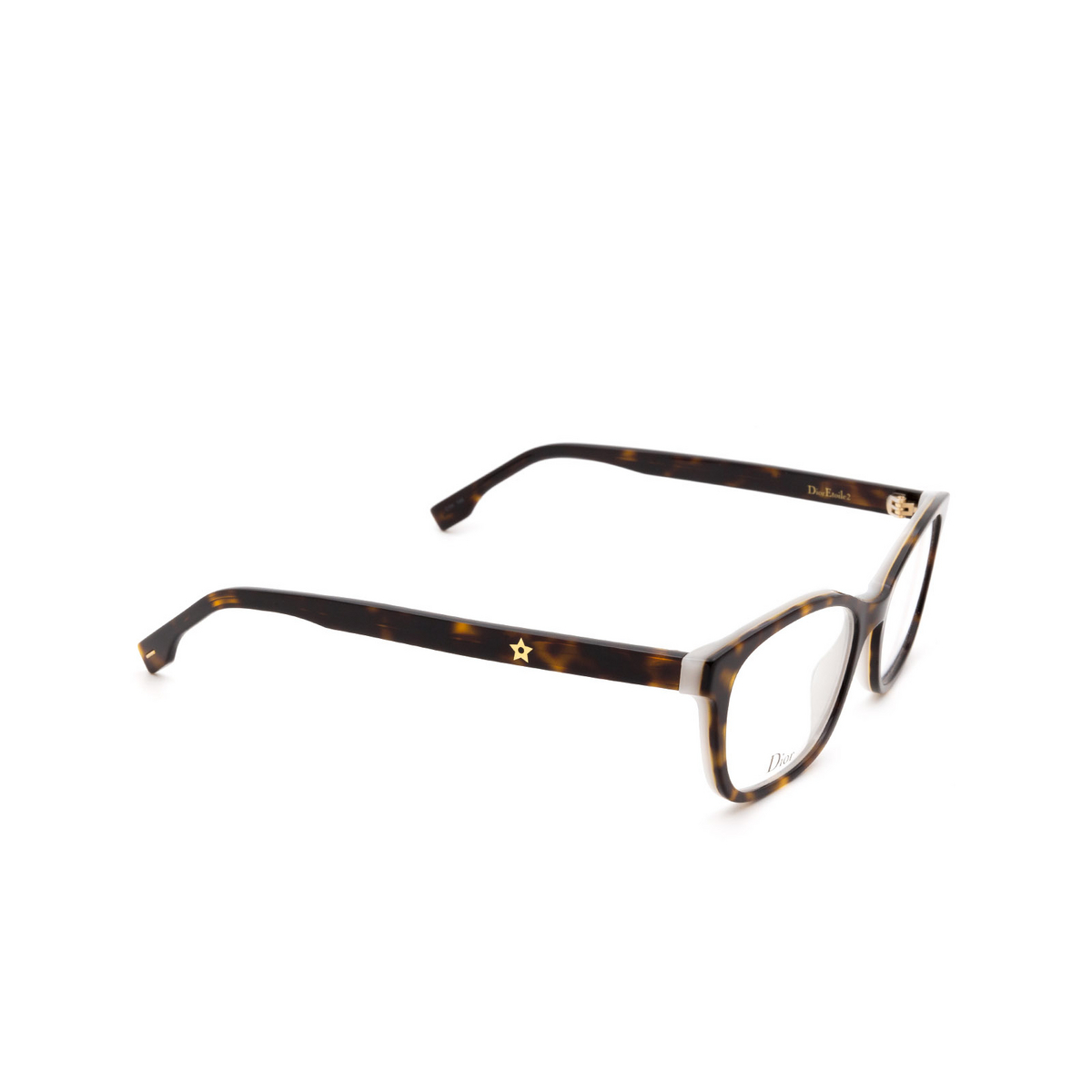 Dior® Butterfly Eyeglasses: DIORETOILE2 color Dark Havana C1H - three-quarters view.