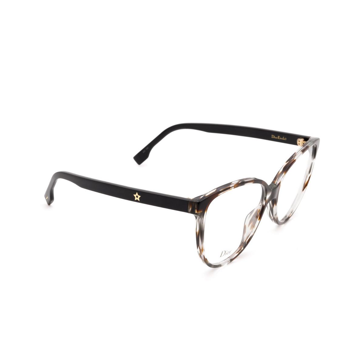 Dior® Butterfly Eyeglasses: DIORETOILE3 color Grey Havana Aci - three-quarters view.