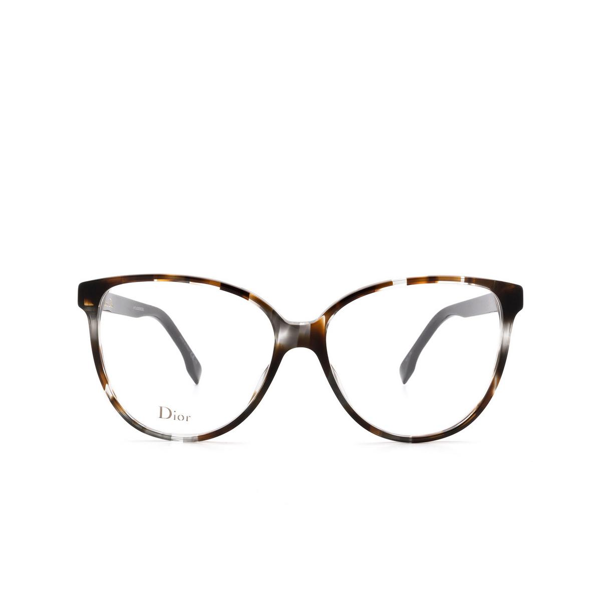Dior® Butterfly Eyeglasses: DIORETOILE3 color Grey Havana Aci - front view.