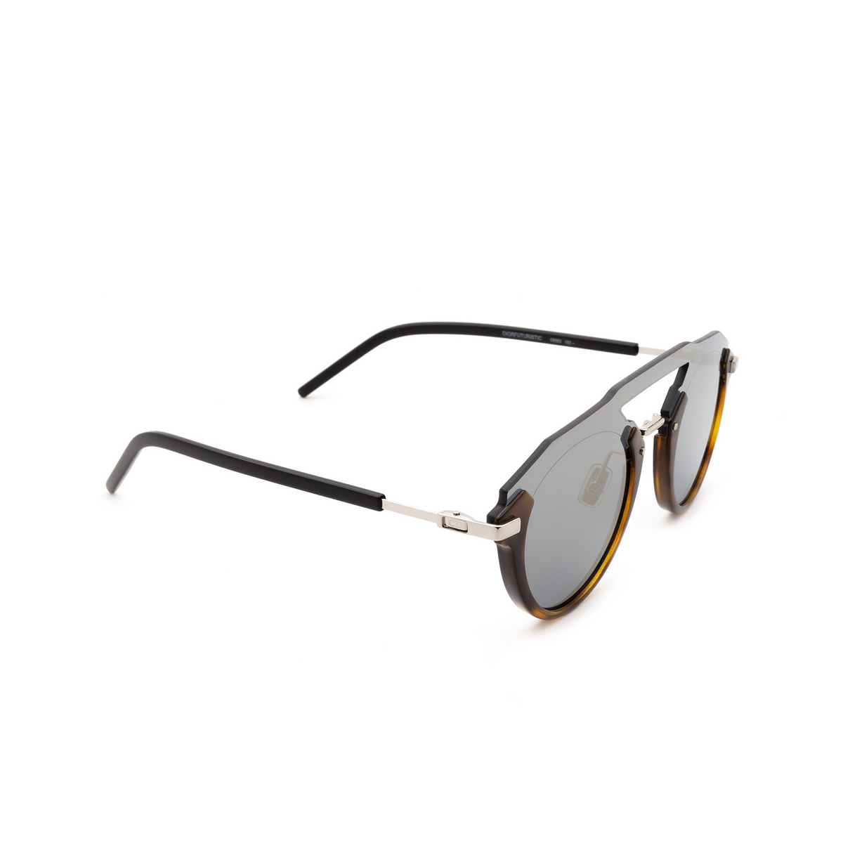 Dior® Round Sunglasses: Diorfuturistic color Dark Havana 086/83.