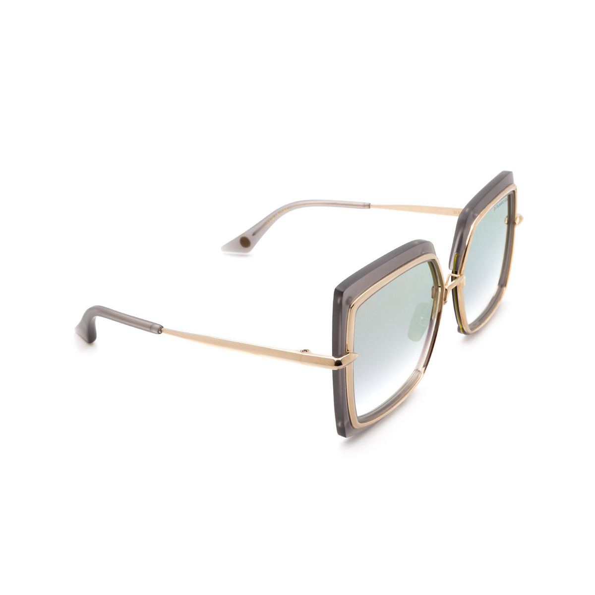 Dita® Square Sunglasses: Narcissus DTS503-58-03-Z color Crystal Grey White Gold Gry-gld.