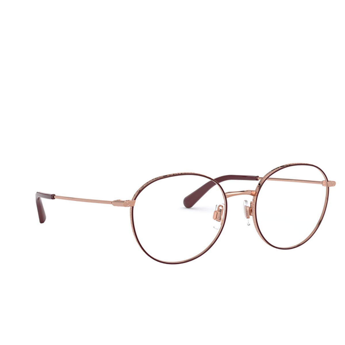 Dolce & Gabbana® Round Eyeglasses: DG1322 color Pink Gold / Bordeaux 1333 - three-quarters view.