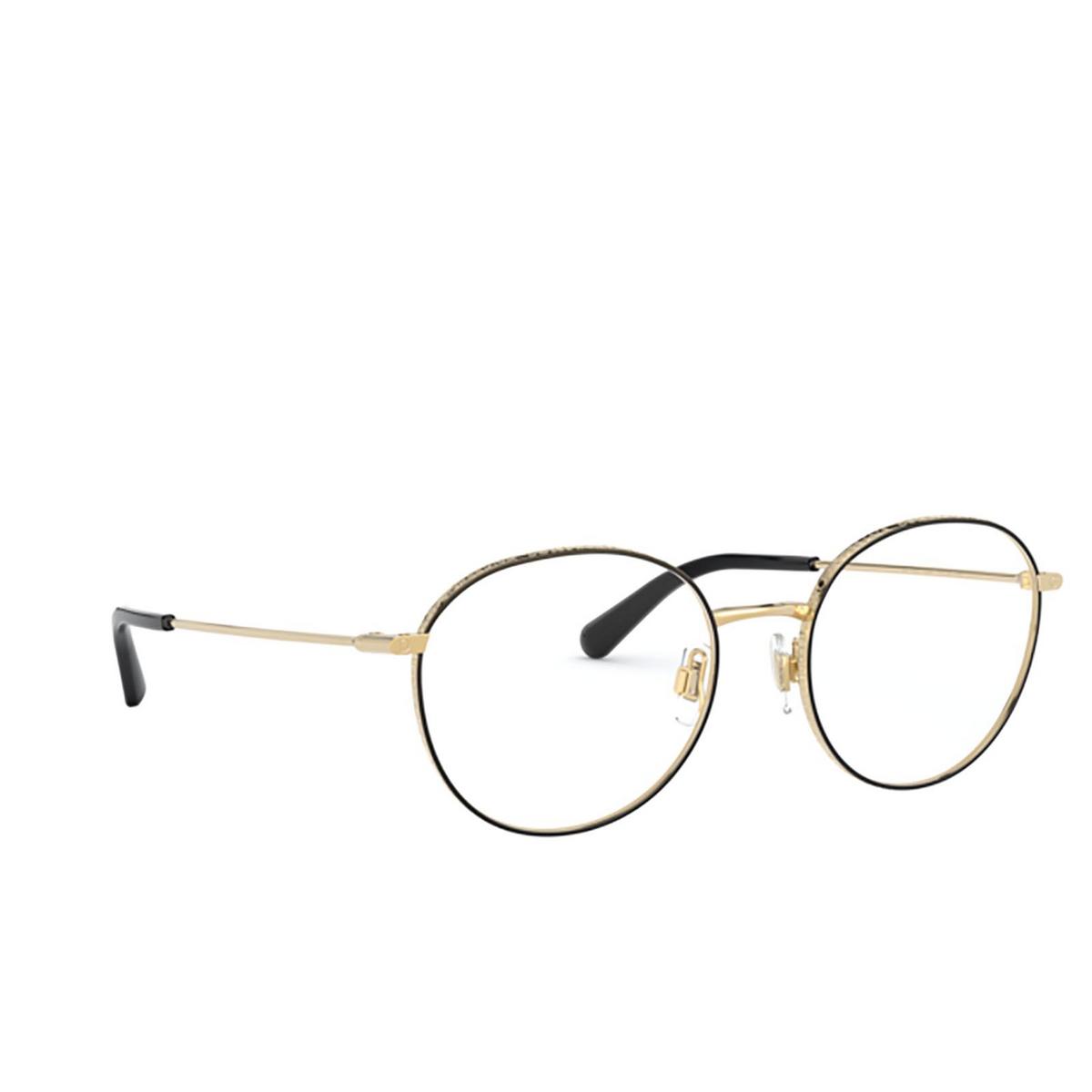 Dolce & Gabbana® Round Eyeglasses: DG1322 color Gold / Black 1334 - three-quarters view.