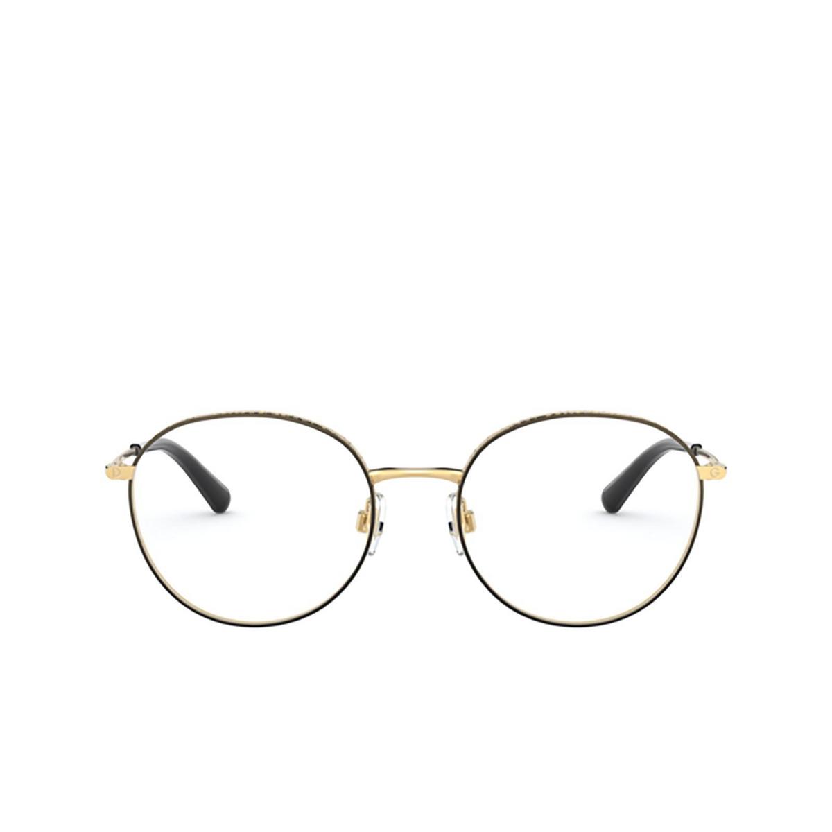 Dolce & Gabbana® Round Eyeglasses: DG1322 color Gold / Black 1334 - front view.