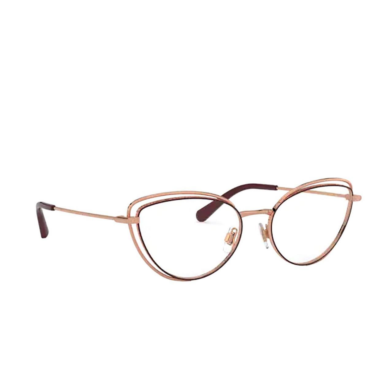 Dolce & Gabbana® Cat-eye Eyeglasses: DG1326 color Pink Gold / Bordeaux 1333 - three-quarters view.