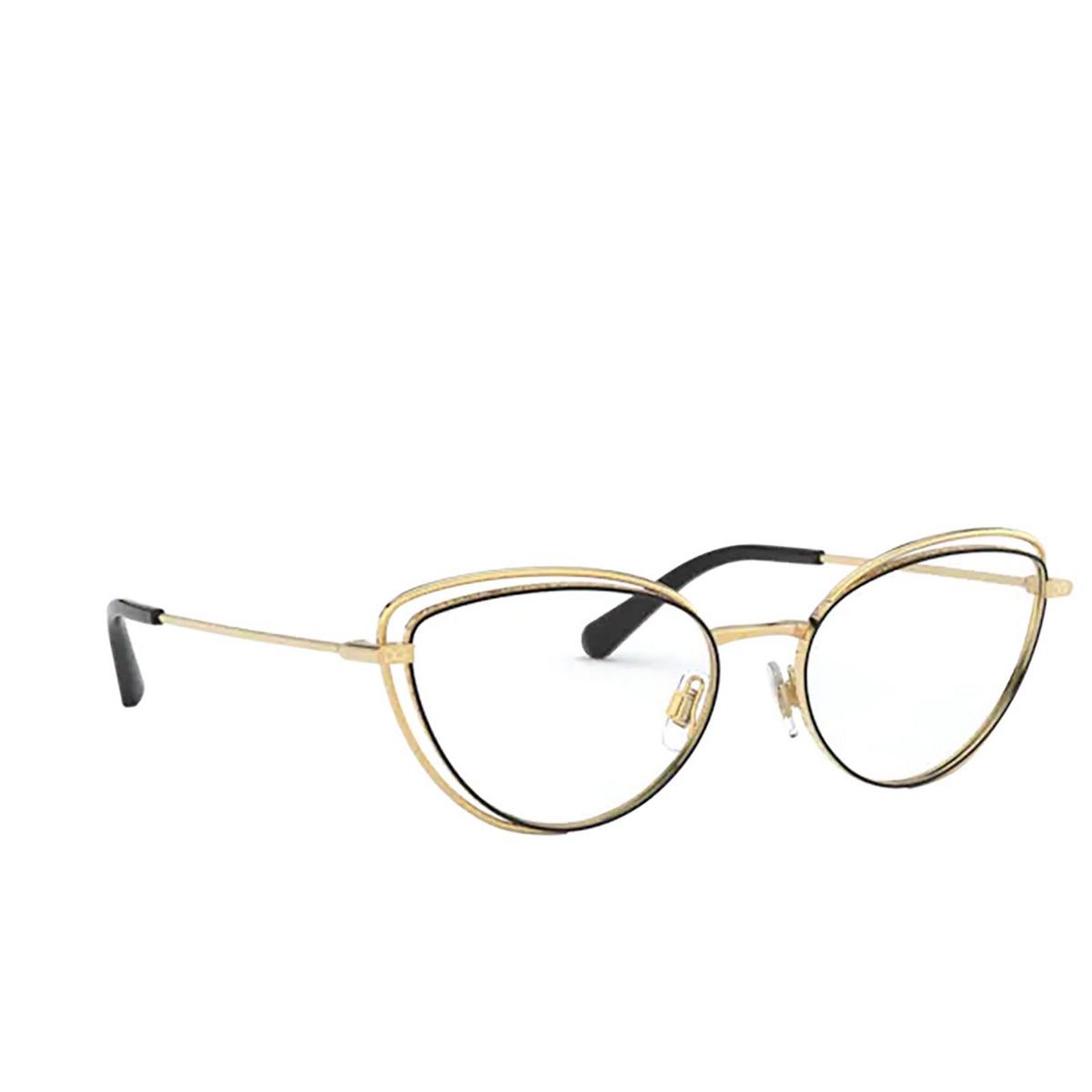 Dolce & Gabbana® Cat-eye Eyeglasses: DG1326 color Gold / Black 1334 - three-quarters view.