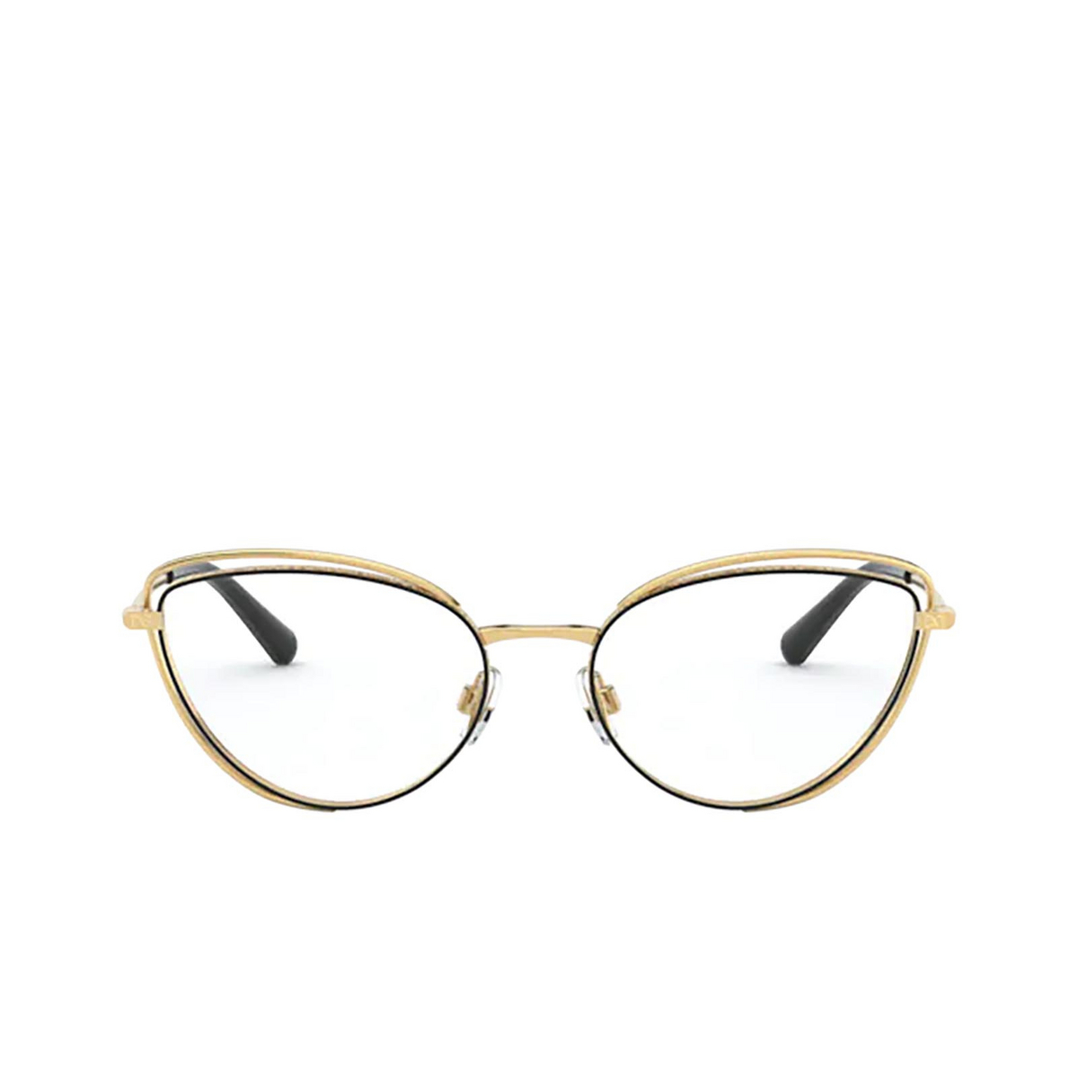 Dolce & Gabbana® Cat-eye Eyeglasses: DG1326 color Gold / Black 1334 - front view.