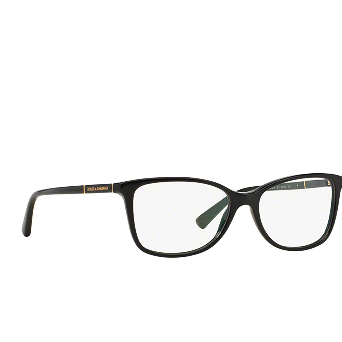 Dolce & Gabbana® Square Eyeglasses: DG3219 color Black 501 - three-quarters view.