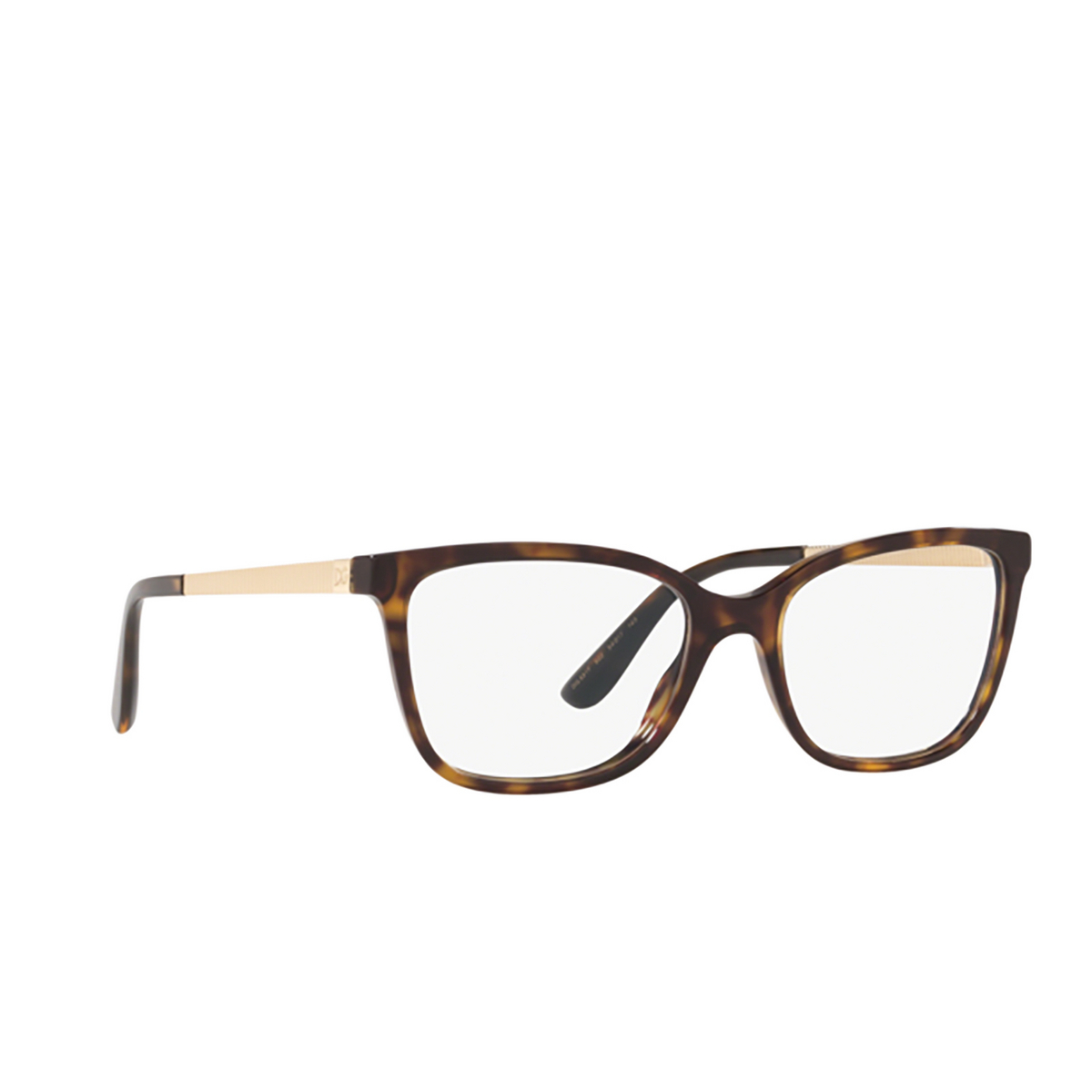 Dolce & Gabbana® Rectangle Eyeglasses: DG3317 color Havana 502 - three-quarters view.
