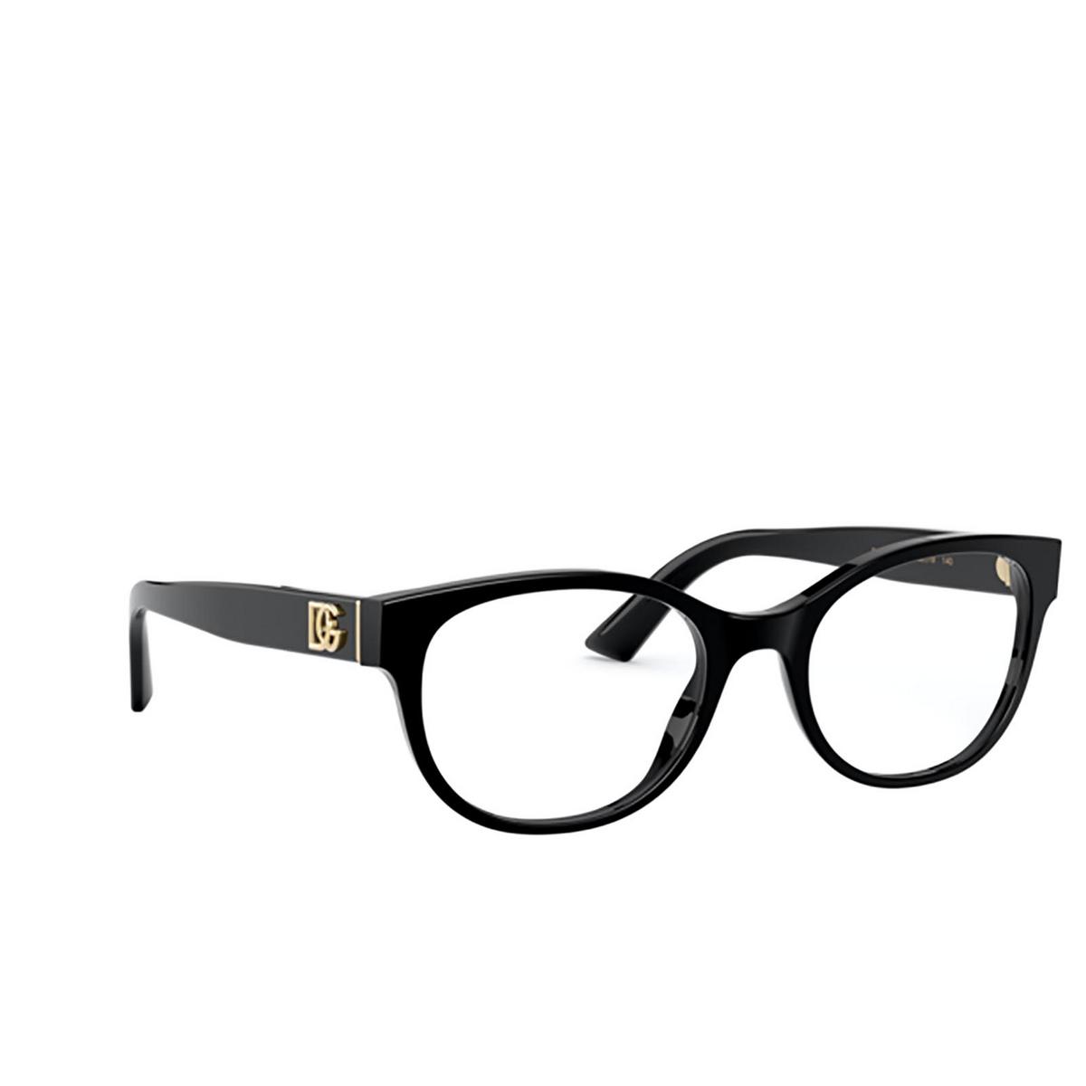 Dolce & Gabbana® Oval Eyeglasses: DG3327 color Black 501 - three-quarters view.