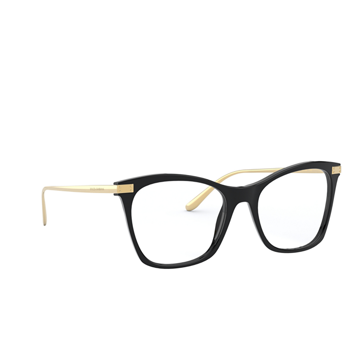 Dolce & Gabbana® Square Eyeglasses: DG3331 color Black 501 - three-quarters view.