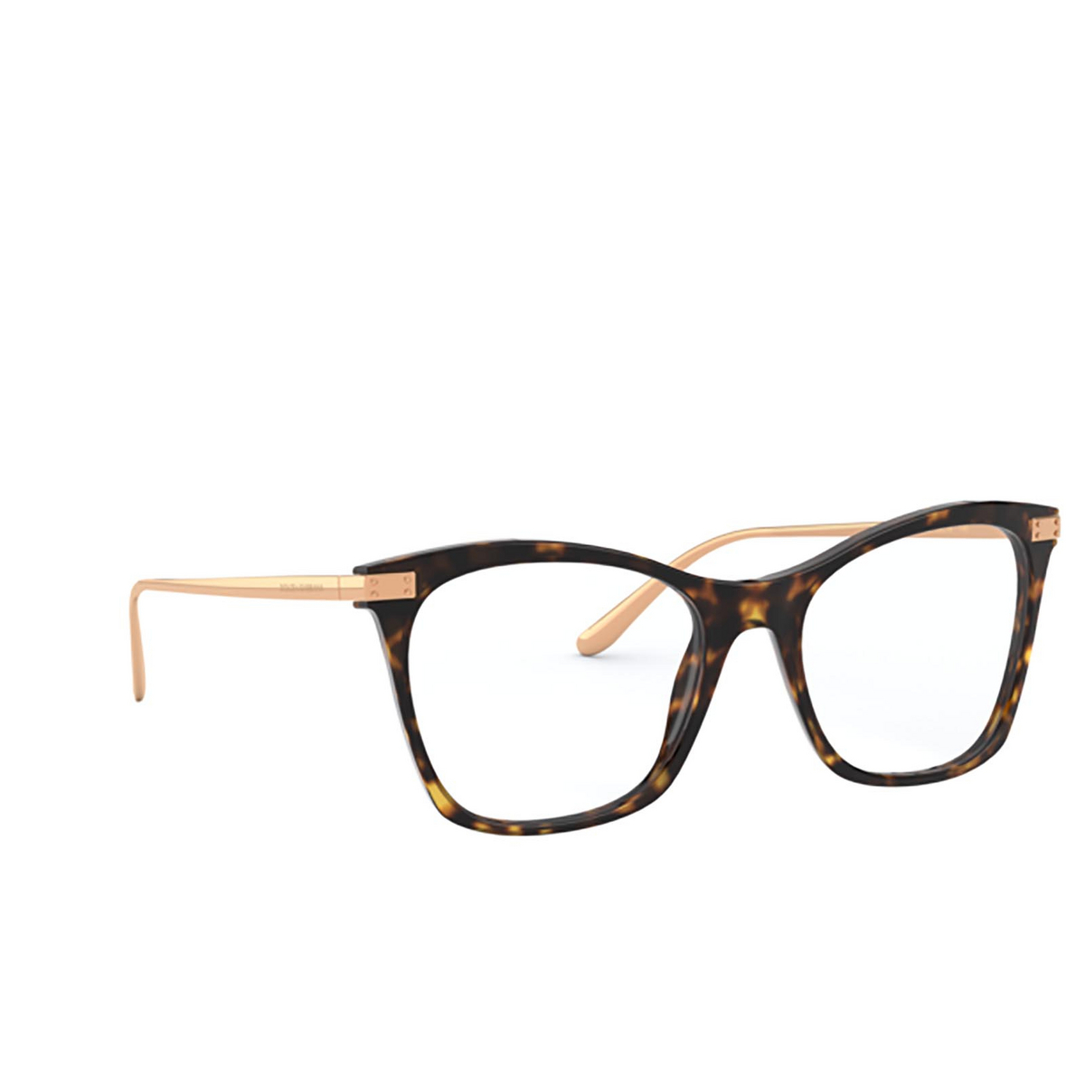 Dolce & Gabbana® Square Eyeglasses: DG3331 color Havana 502 - three-quarters view.