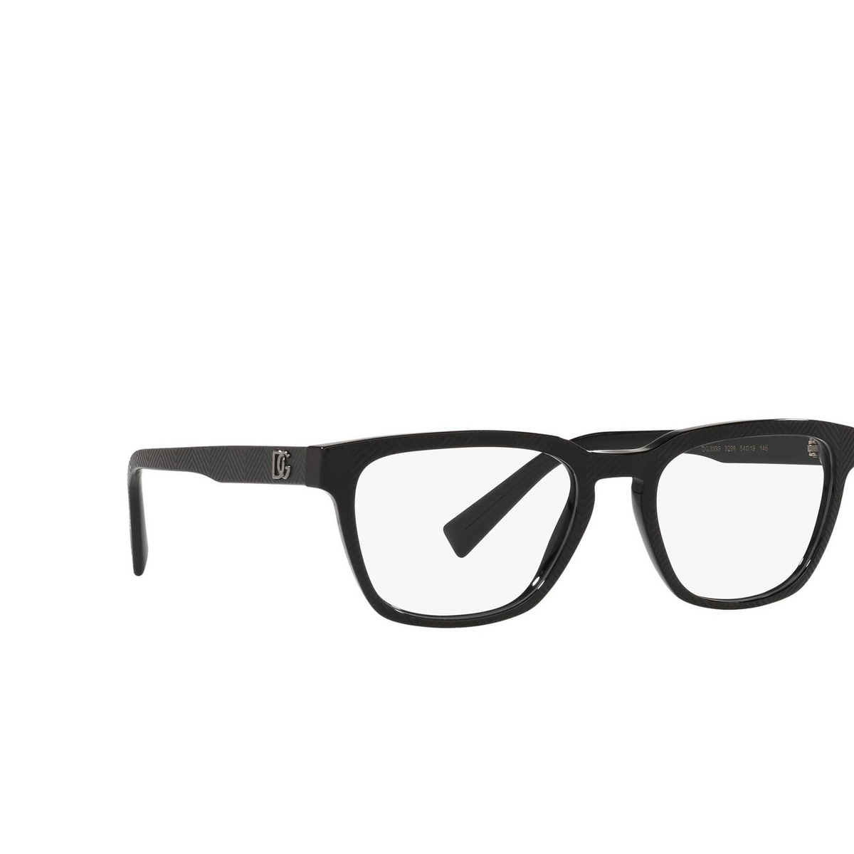 Dolce & Gabbana® Square Eyeglasses: DG3333 color Nero Texture Spigato 3298 - three-quarters view.