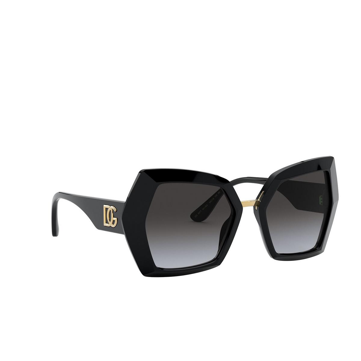 Dolce & Gabbana® Butterfly Sunglasses: DG4377 color Black 501/8G - three-quarters view.