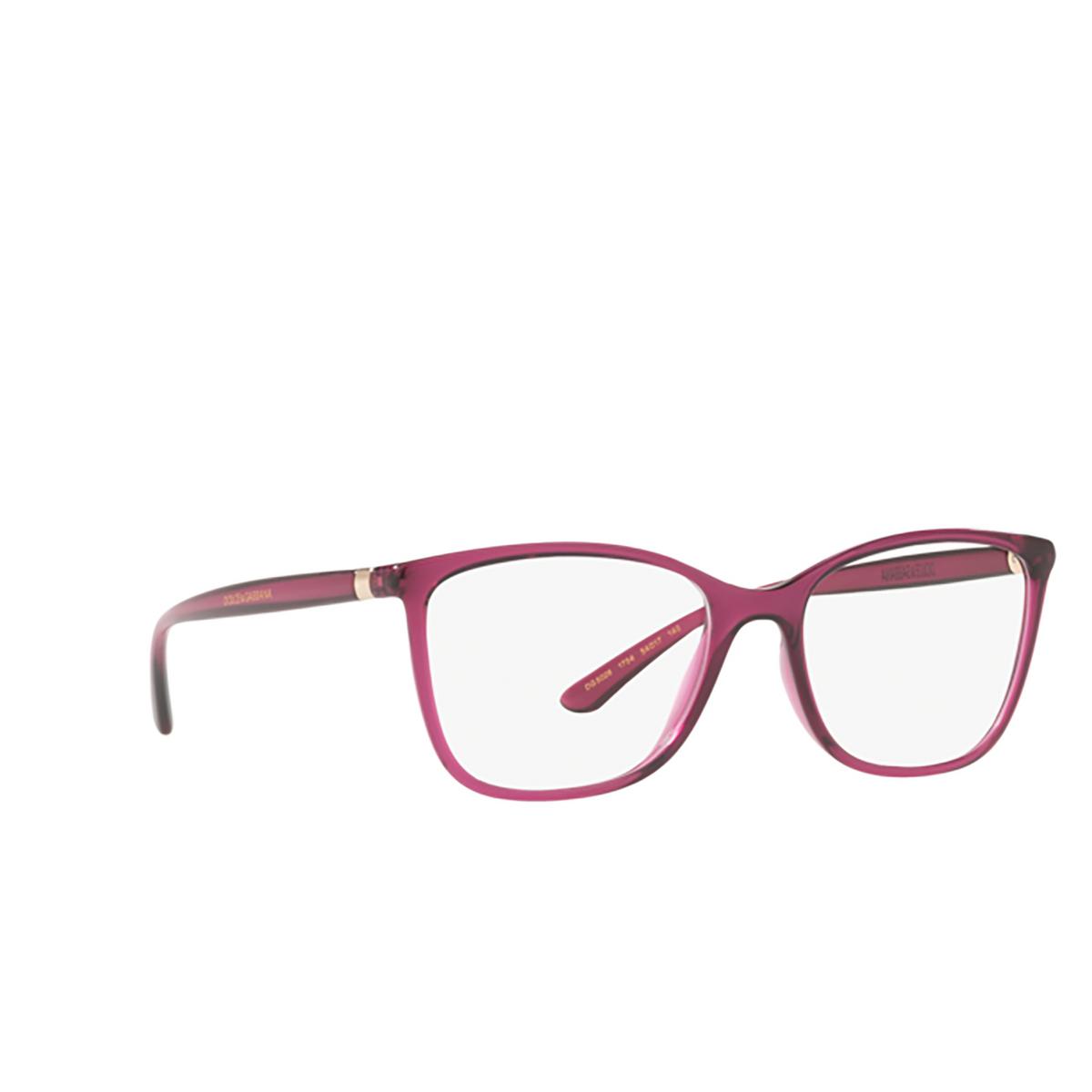 Dolce & Gabbana® Rectangle Eyeglasses: DG5026 color Transparent Dark Cherry 1754 - three-quarters view.