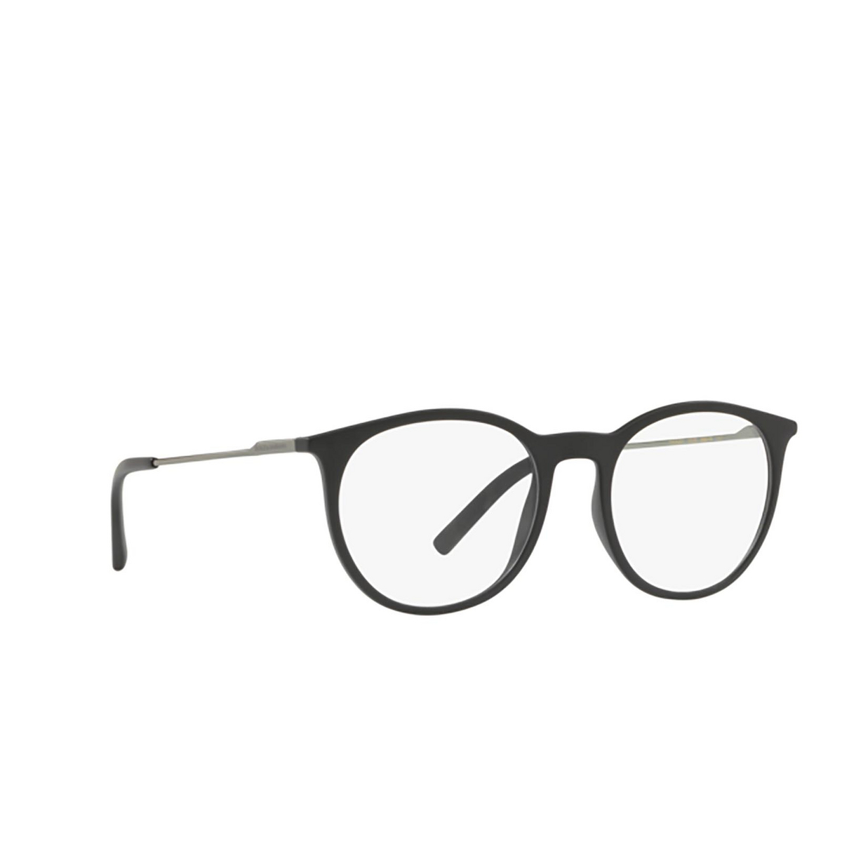 Dolce & Gabbana® Round Eyeglasses: DG5031 color Matte Black 2525 - three-quarters view.