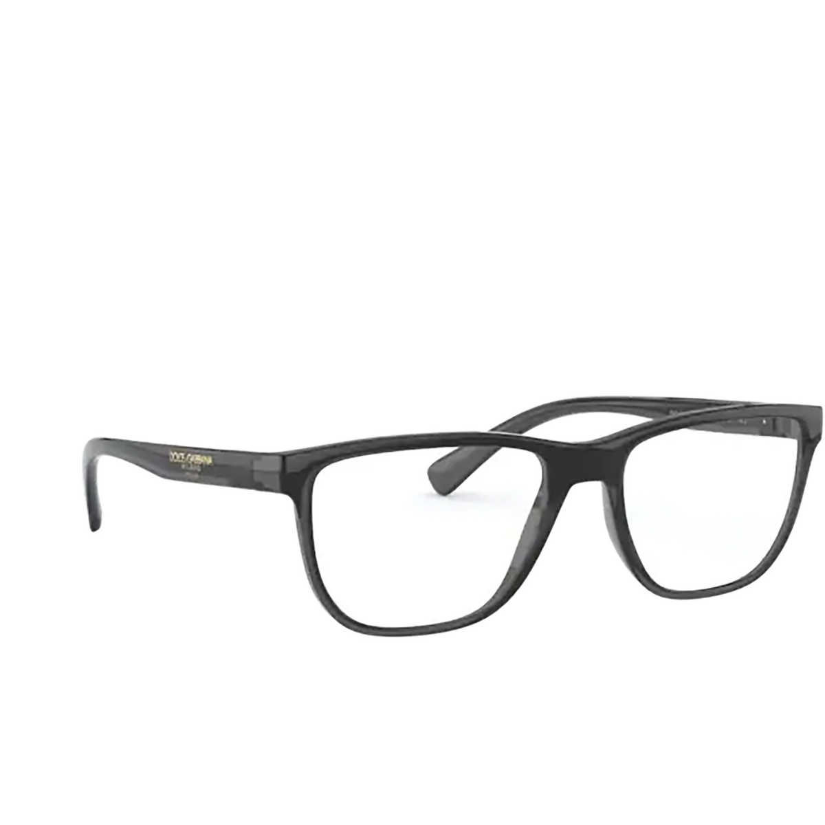 Dolce & Gabbana® Rectangle Eyeglasses: DG5053 color Transparent Grey / Black 3257 - three-quarters view.