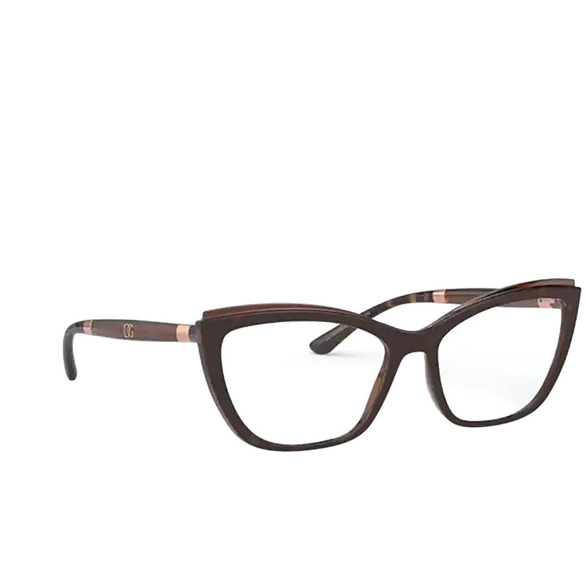 Dolce & Gabbana® Cat-eye Eyeglasses: DG5054 color Havana On Transparent Brown 3185 - three-quarters view.