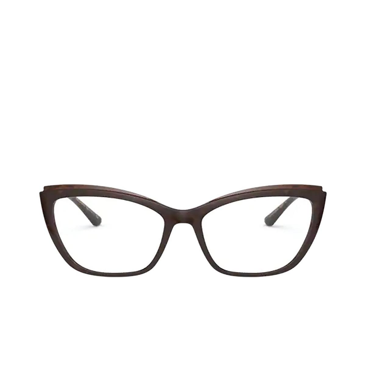 Dolce & Gabbana® Cat-eye Eyeglasses: DG5054 color Havana On Transparent Brown 3185 - front view.