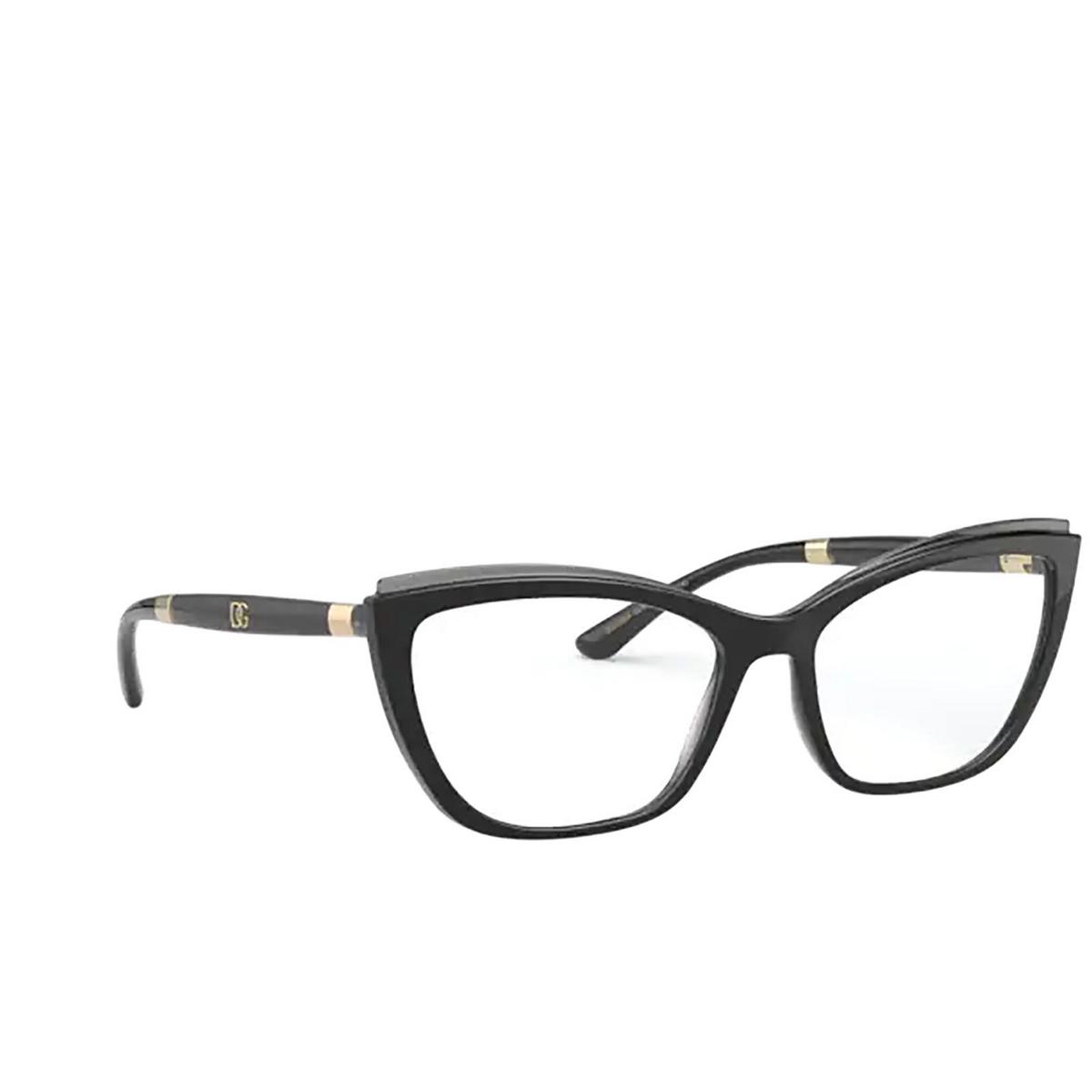 Dolce & Gabbana® Cat-eye Eyeglasses: DG5054 color Black On Transparent Grey 3246 - three-quarters view.