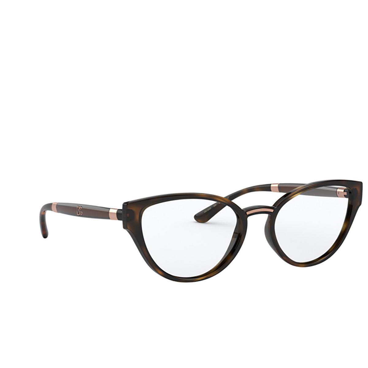 Dolce & Gabbana® Cat-eye Eyeglasses: DG5055 color Havana 502 - three-quarters view.