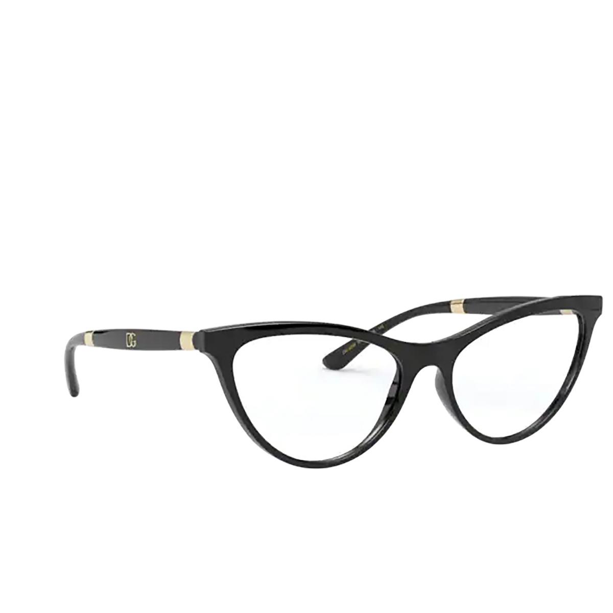 Dolce & Gabbana® Cat-eye Eyeglasses: DG5058 color Black 501 - three-quarters view.