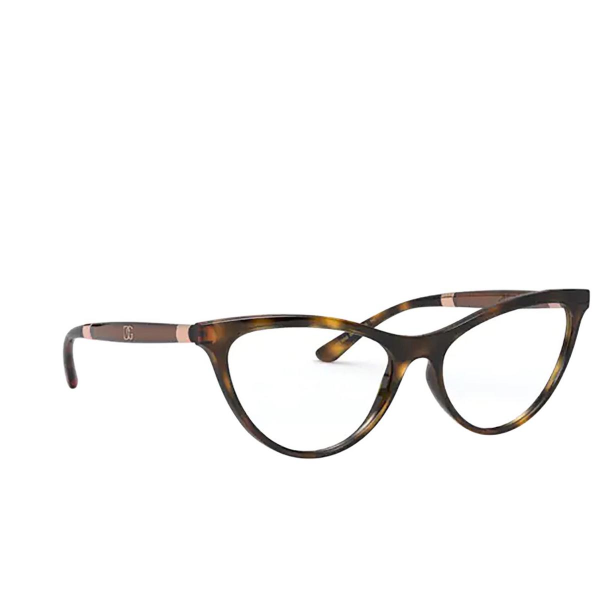 Dolce & Gabbana® Cat-eye Eyeglasses: DG5058 color Havana 502 - three-quarters view.