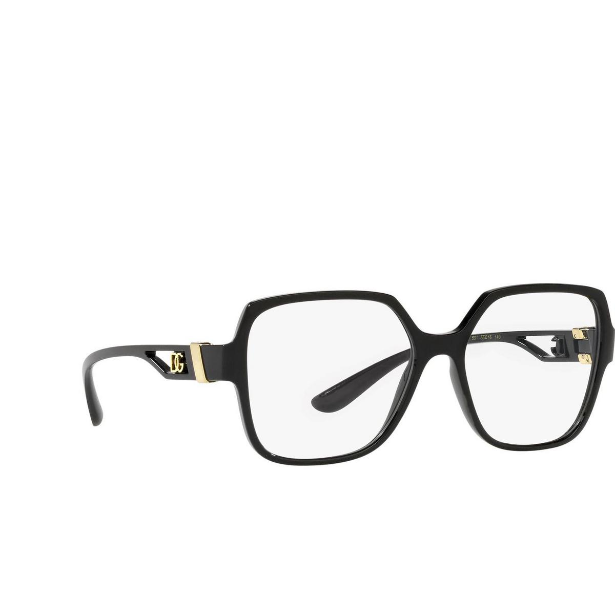 Dolce & Gabbana® Square Eyeglasses: DG5065 color Black 501 - three-quarters view.