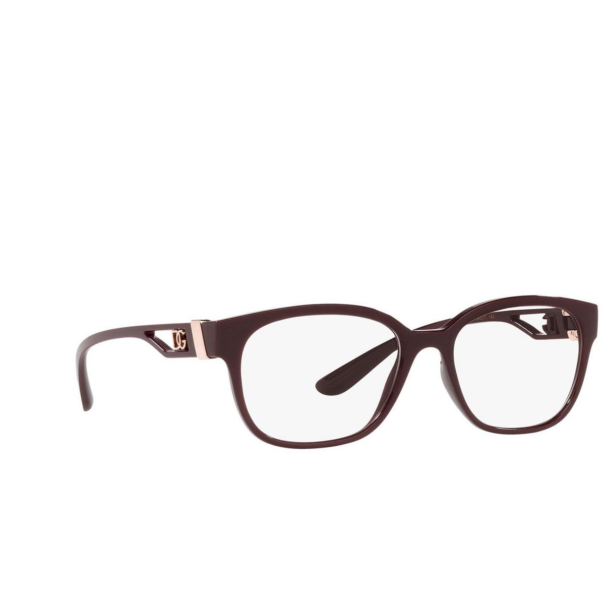 Dolce & Gabbana® Square Eyeglasses: DG5066 color Transparent Bordeaux 3285 - three-quarters view.