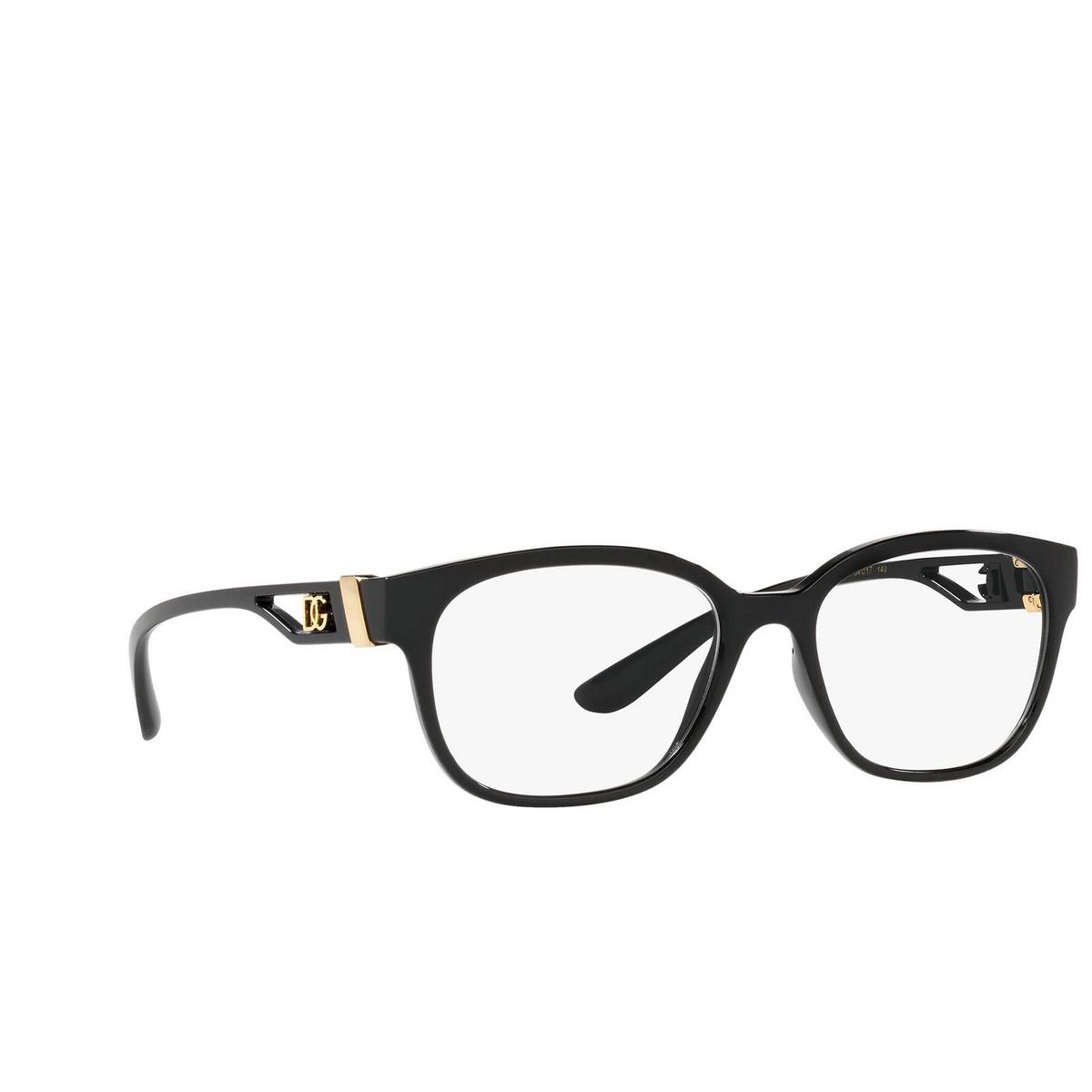 Dolce & Gabbana® Square Eyeglasses: DG5066 color Black 501 - three-quarters view.