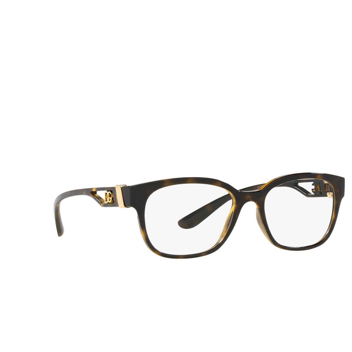 Dolce & Gabbana® Rectangle Eyeglasses: DG5066 color Havana 502 - three-quarters view.