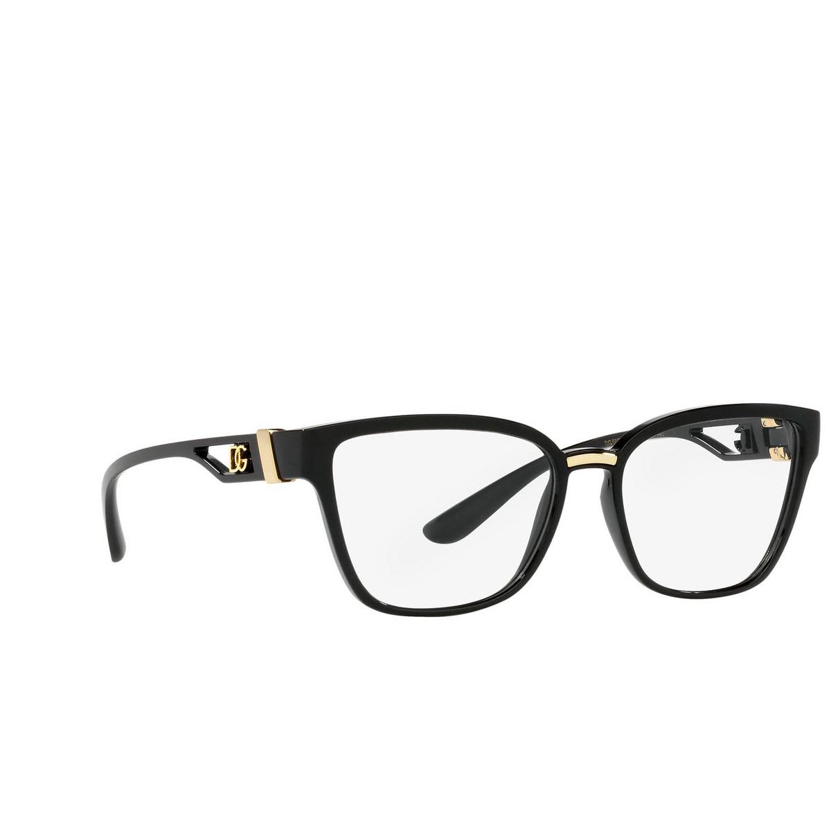 Dolce & Gabbana® Cat-eye Eyeglasses: DG5070 color Black 501 - three-quarters view.