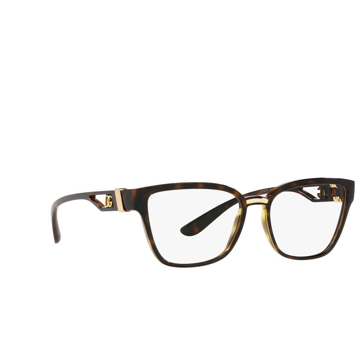 Dolce & Gabbana® Cat-eye Eyeglasses: DG5070 color Havana 502 - three-quarters view.
