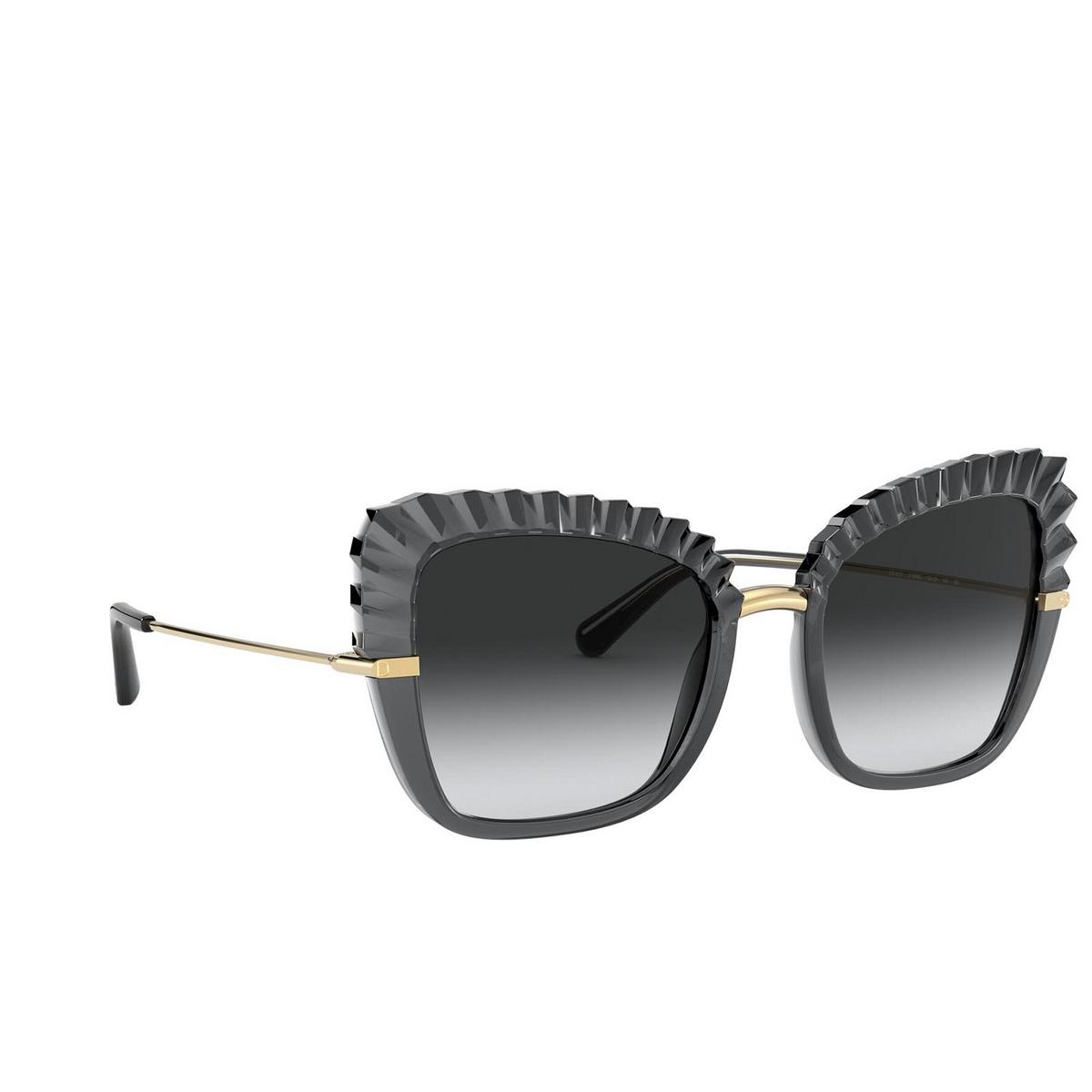 Dolce & Gabbana® Butterfly Sunglasses: DG6131 color Transparent Grey 31608G - three-quarters view.