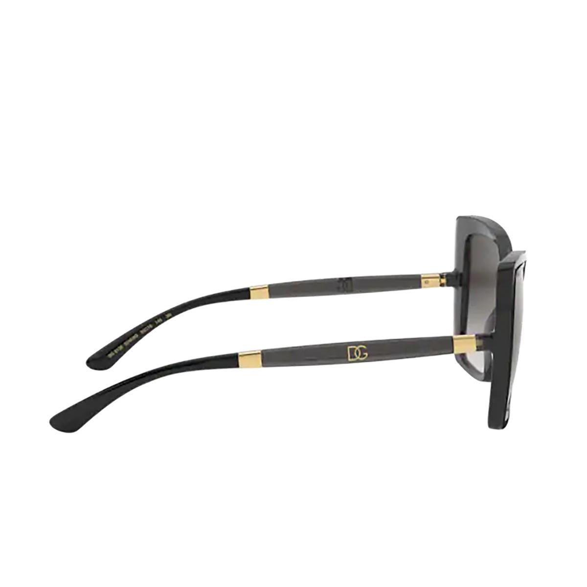 Dolce & Gabbana® Square Sunglasses: DG6138 color Black On Transparent Grey 32468G - 3/3.