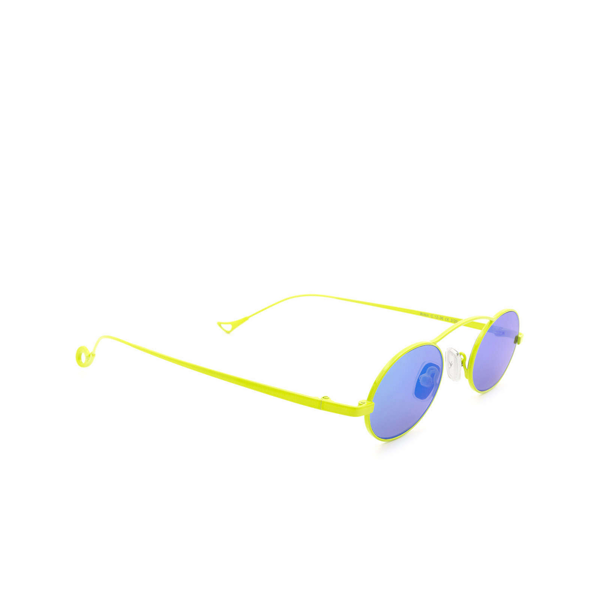 Eyepetizer® Oval Sunglasses: Birkin color Lime Green C.12-36 - three-quarters view.