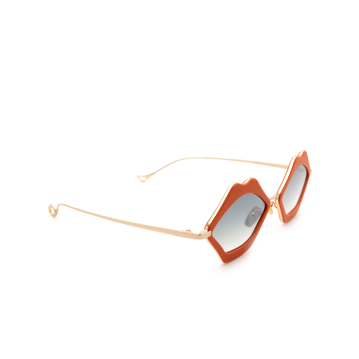 Eyepetizer® Irregular Sunglasses: Bisous color Coral C.4-K-25F - three-quarters view.