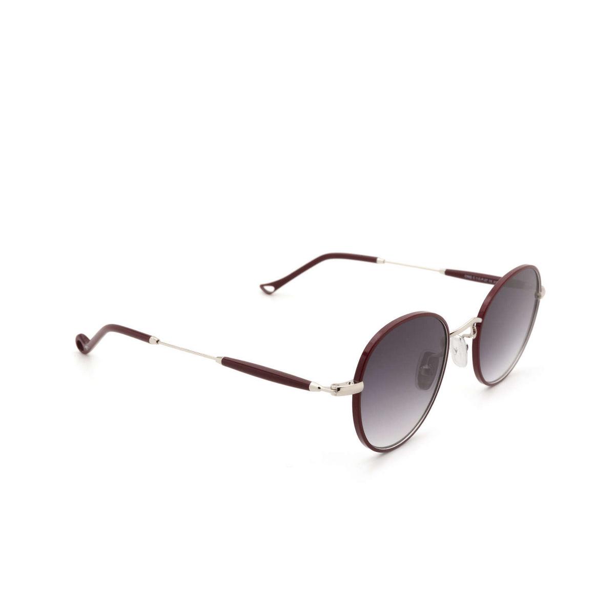 Eyepetizer® Round Sunglasses: Cinq color Bordeaux C.1-C-P-27 - three-quarters view.