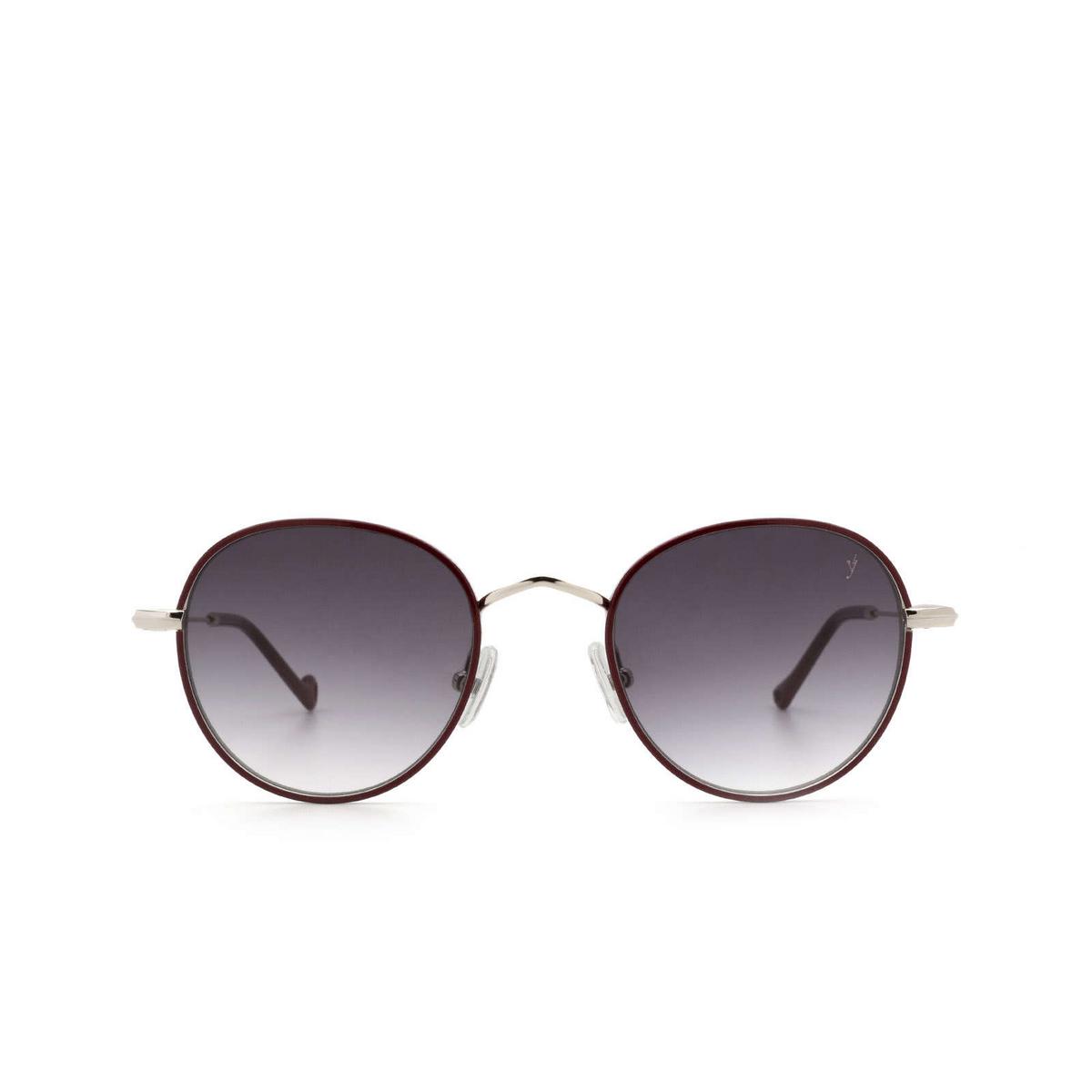 Eyepetizer® Round Sunglasses: Cinq color Bordeaux C.1-C-P-27 - front view.