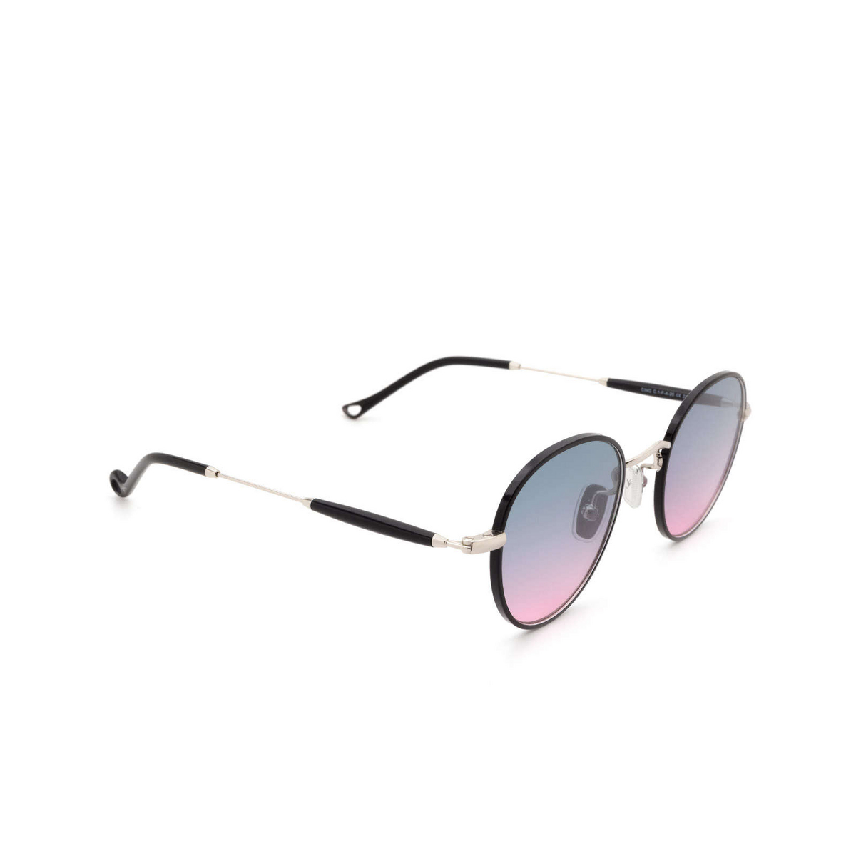 Eyepetizer® Round Sunglasses: Cinq color Black C.1-F-A-20 - three-quarters view.