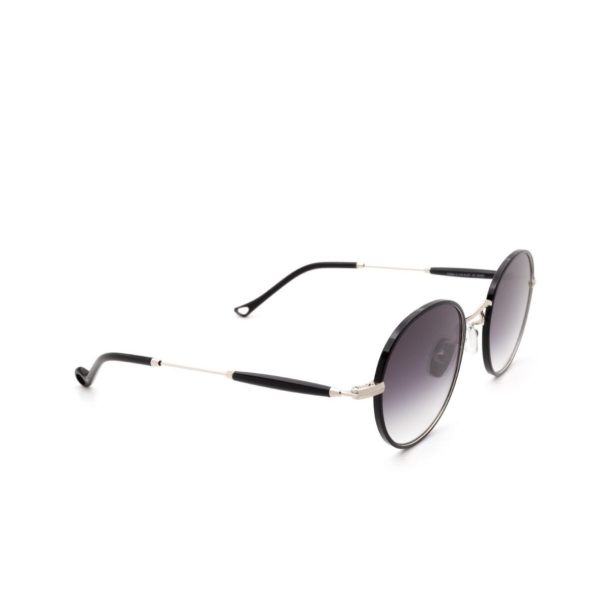 Eyepetizer® Round Sunglasses: Cinq color Black C.1-F-A-27 - three-quarters view.