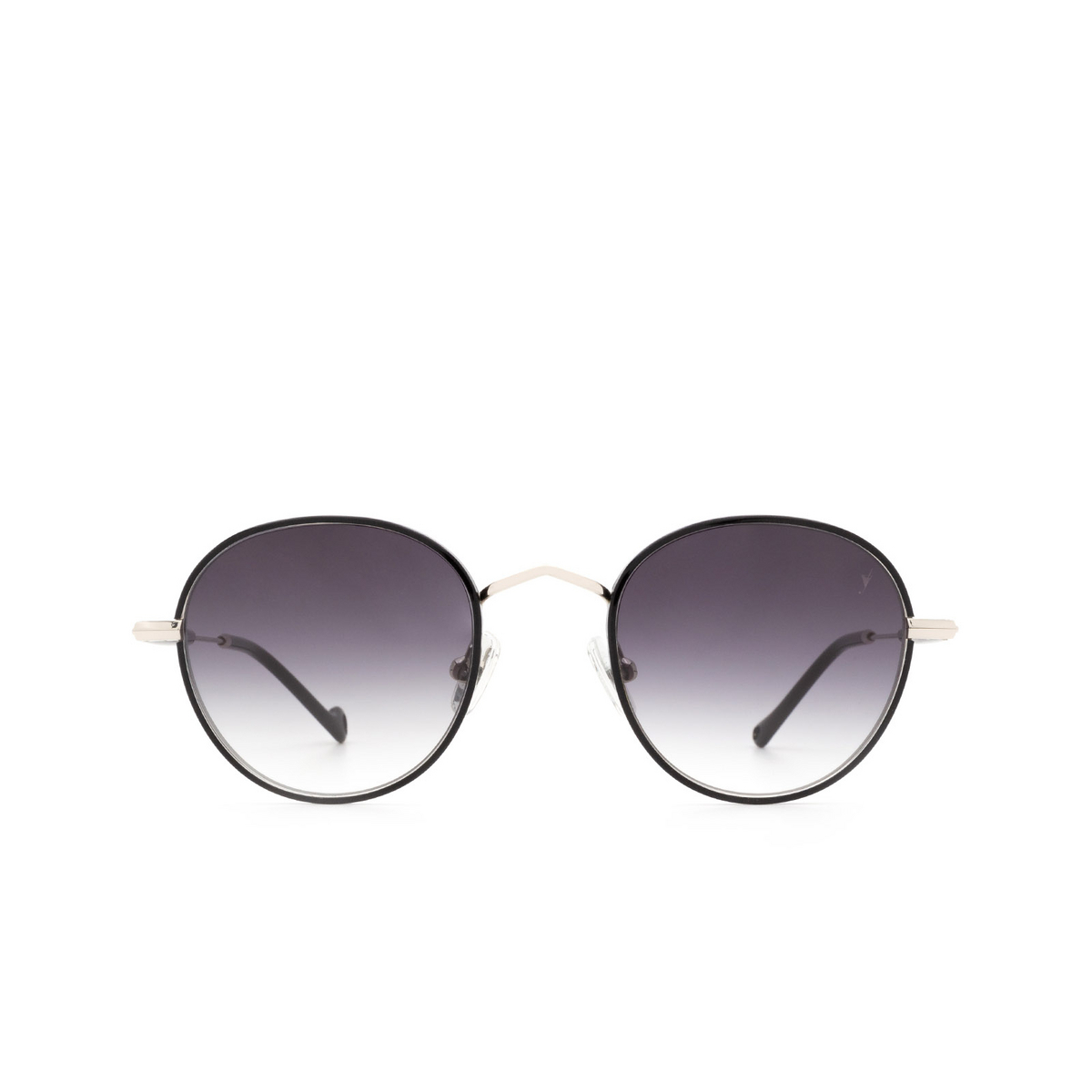 Eyepetizer® Round Sunglasses: Cinq color Black C.1-F-A-27 - front view.