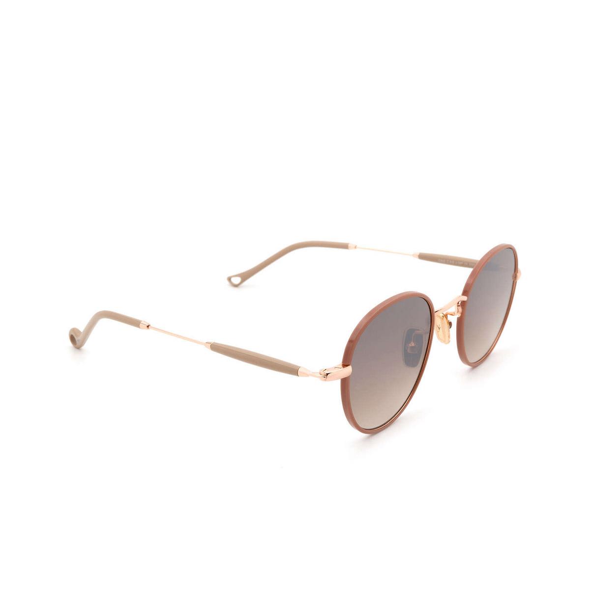 Eyepetizer® Round Sunglasses: Cinq color Pinkish Brown C.9-E-J-18F - three-quarters view.
