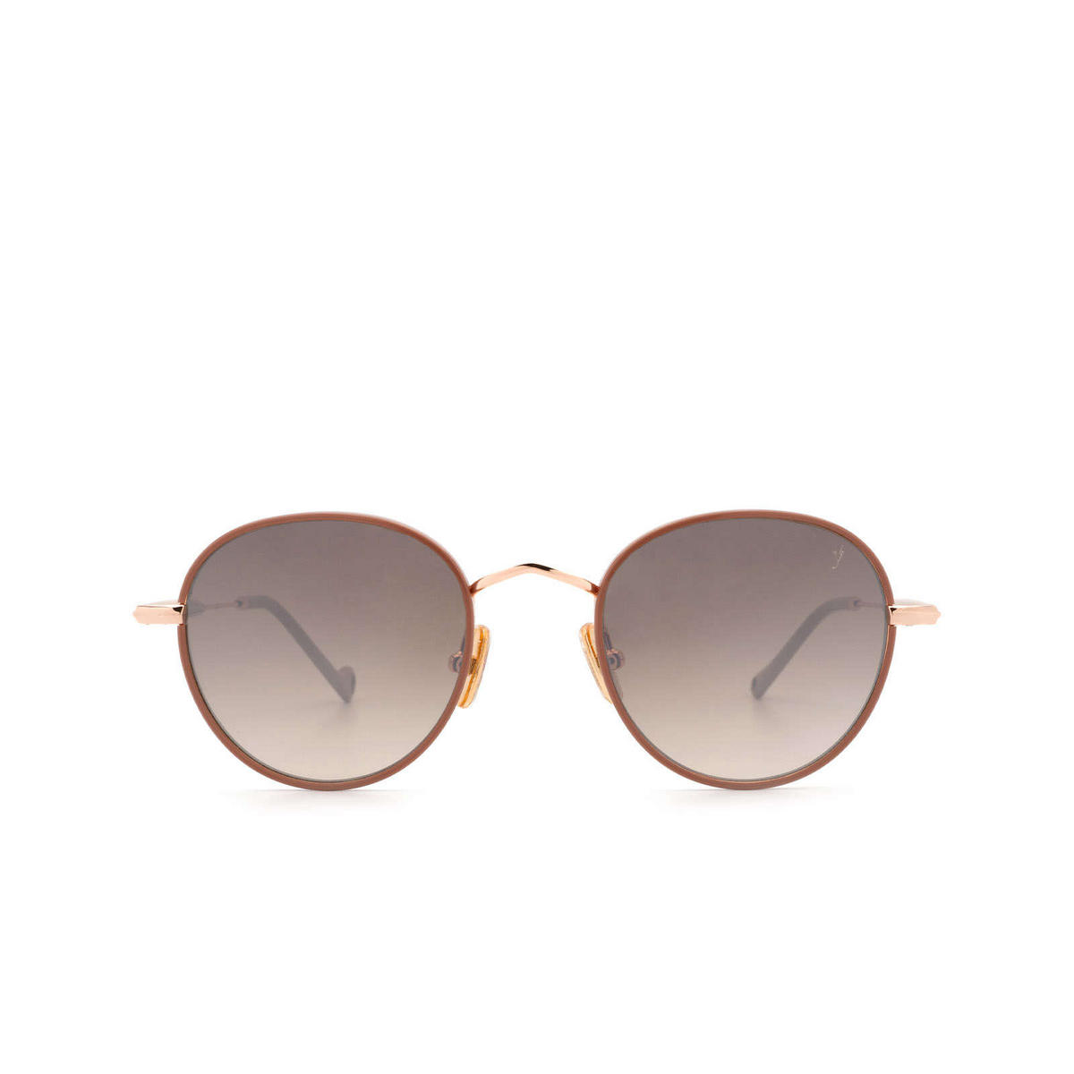 Eyepetizer® Round Sunglasses: Cinq color Pinkish Brown C.9-E-J-18F - front view.