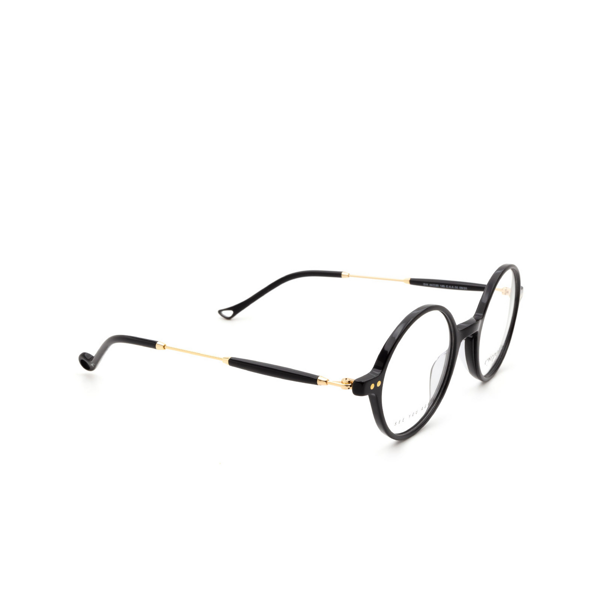 Eyepetizer® Round Eyeglasses: Dix color Black C.4-A.