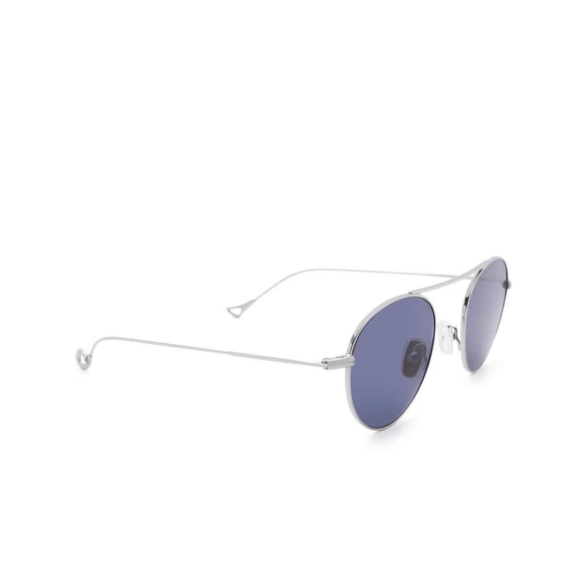 Eyepetizer® Round Sunglasses: En Bossa color Silver C.1-39 - three-quarters view.