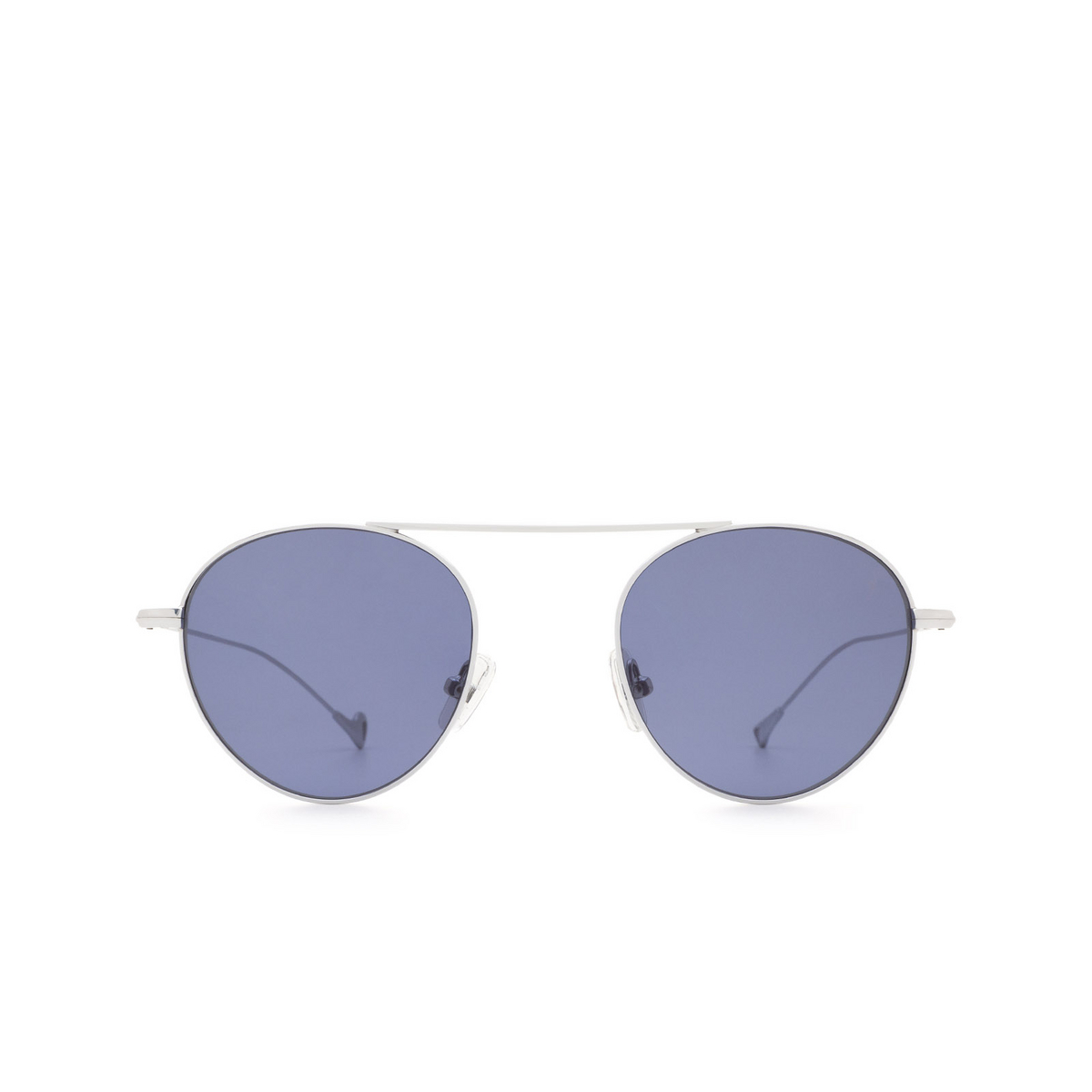 Eyepetizer® Round Sunglasses: En Bossa color Silver C.1-39 - front view.