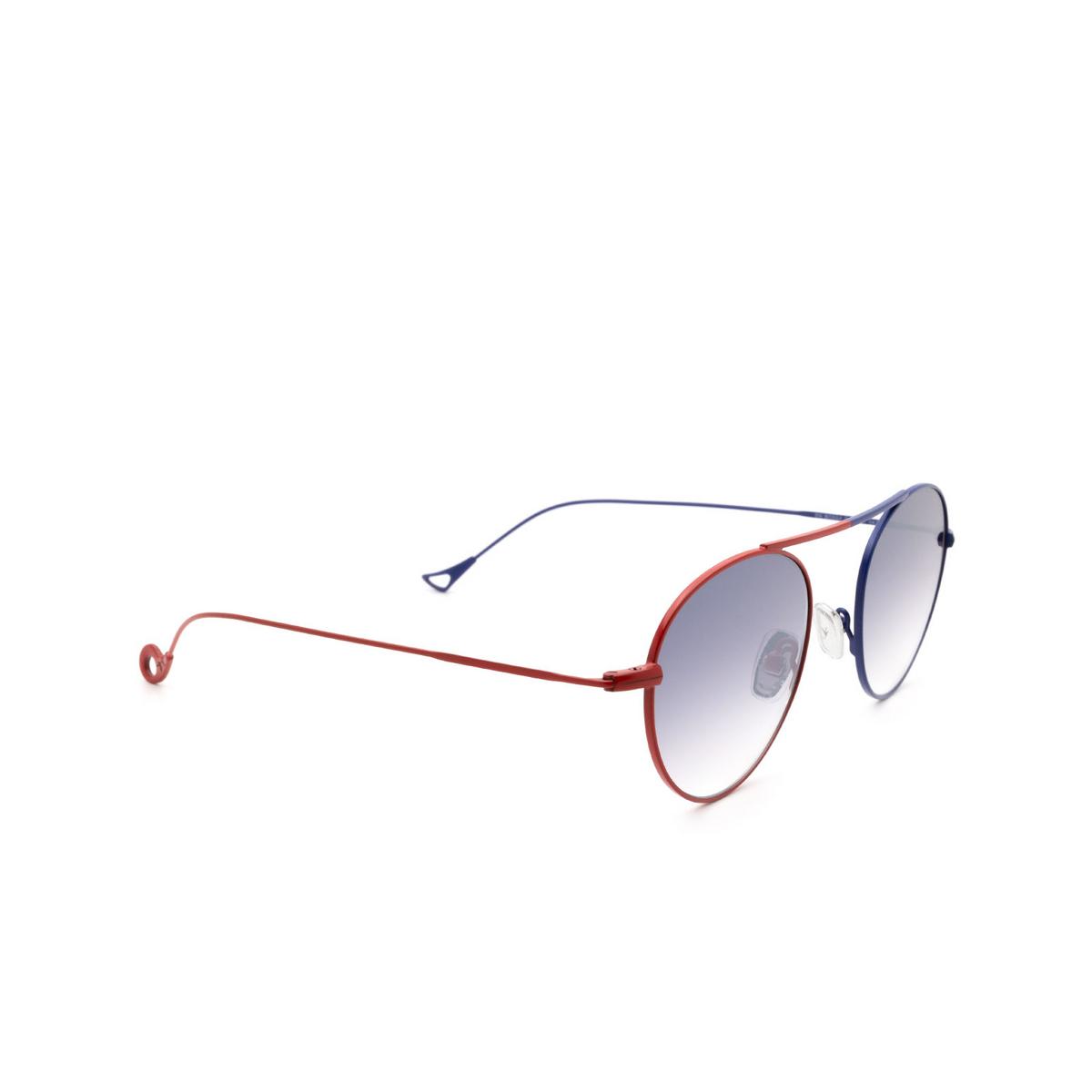 Eyepetizer® Round Sunglasses: En Bossa color Red & Blue C.18-27F - three-quarters view.
