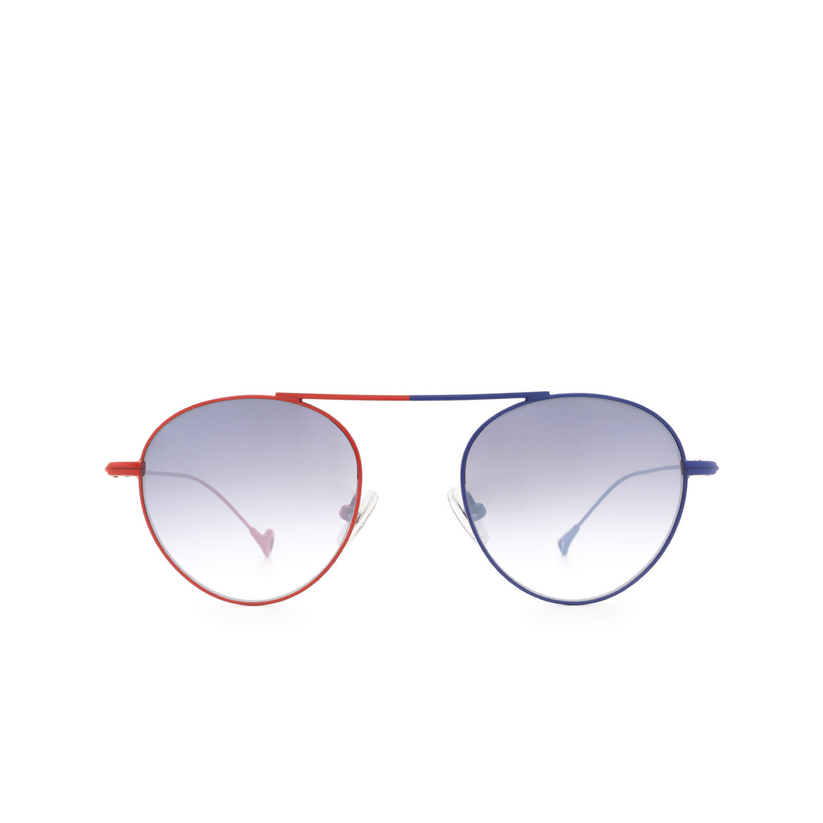Eyepetizer® Round Sunglasses: En Bossa color Red & Blue C.18-27F - front view.