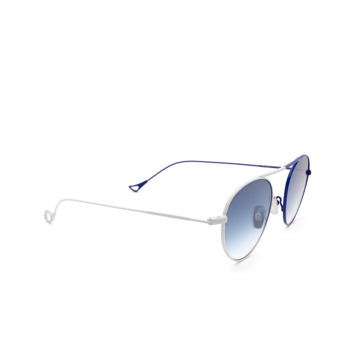 Eyepetizer® Round Sunglasses: En Bossa color White & Blue C.19-12F - three-quarters view.